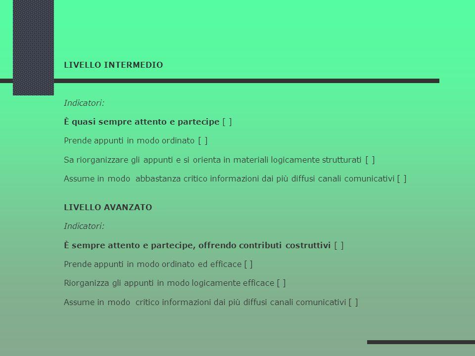LIVELLO INTERMEDIO Indicatori: È quasi sempre attento e partecipe [ ] Prende appunti in modo ordinato [ ] Sa riorganizzare gli appunti e si orienta in materiali logicamente strutturati [ ] Assume in modo abbastanza critico informazioni dai più diffusi canali comunicativi [ ] LIVELLO AVANZATO Indicatori: È sempre attento e partecipe, offrendo contributi costruttivi [ ] Prende appunti in modo ordinato ed efficace [ ] Riorganizza gli appunti in modo logicamente efficace [ ] Assume in modo critico informazioni dai più diffusi canali comunicativi [ ]